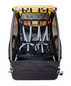 Inside a child bike trailer